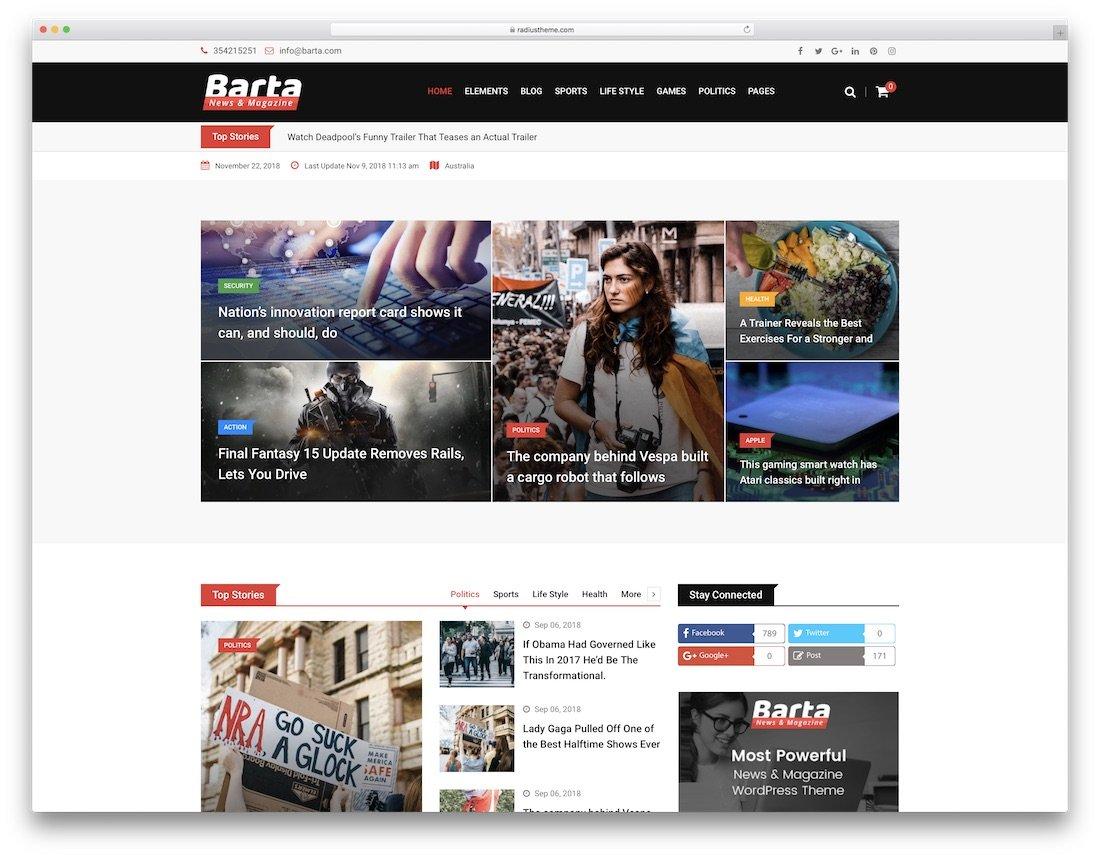 barta wordpress blog temaları
