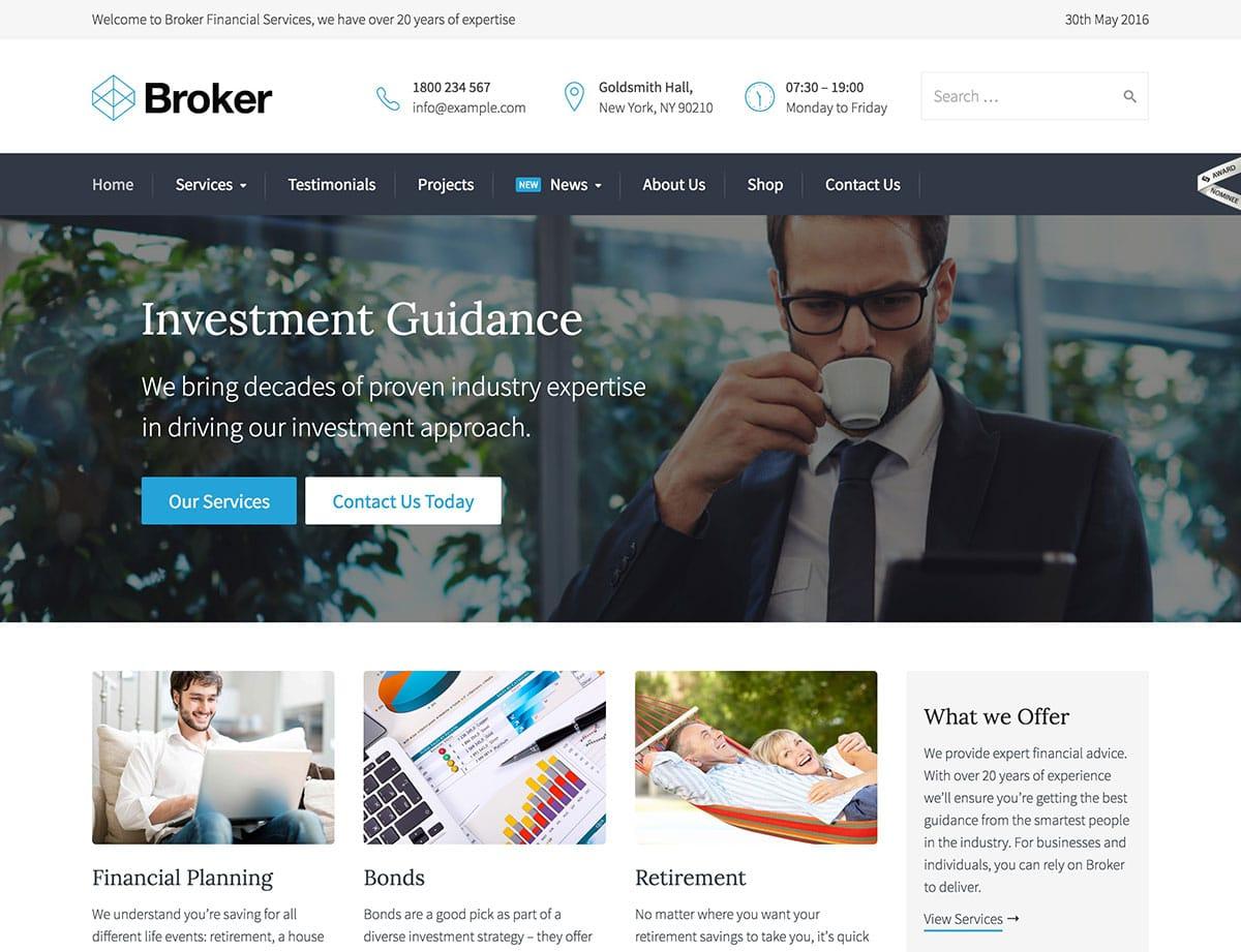 broker wordpress tema