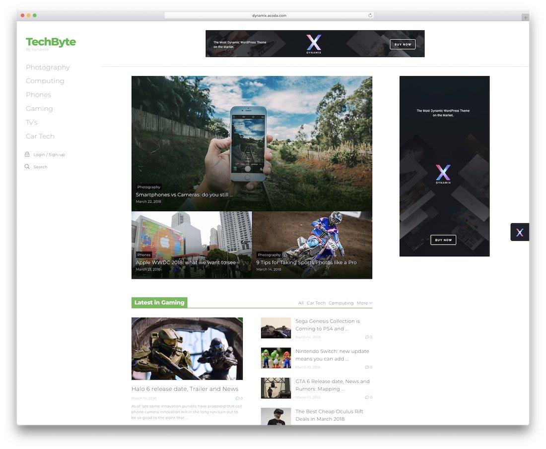 dynamix wordpress blog tema