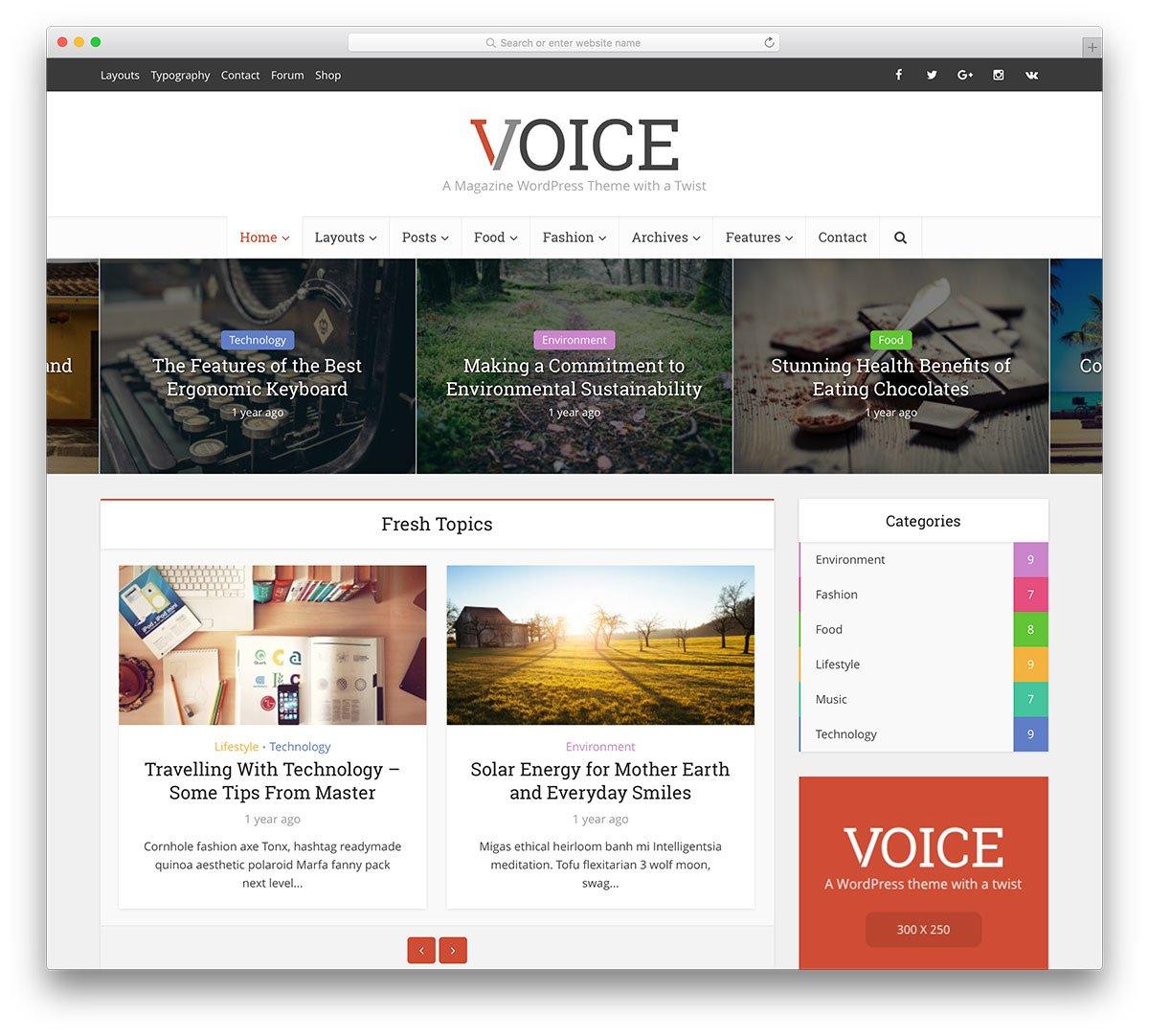 voice wordpress blog tema