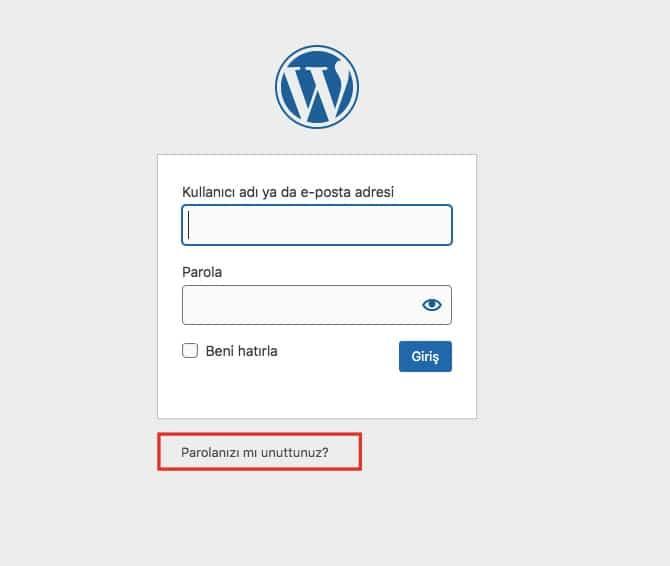 wordpress şifremi unuttum