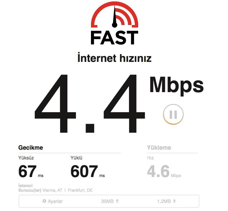 fast internet hızı testi