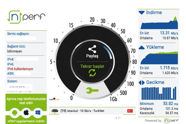 turknet internet hız testi