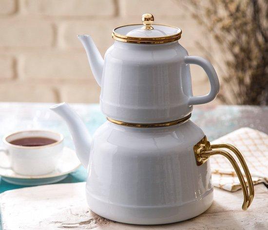 Emsan Troy Emaye Çaydanlık Takımı Beyaz
